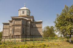Pobirka perto da igreja de madeira velha da ortodoxia de Uman - Ucrânia, Europa. Foto de Stock
