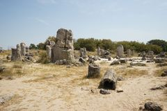 Pobiti Kamani η πέτρινη έρημος, ένα έρημος-όπως φαινόμενο βράχου που βρίσκεται στη Βουλγαρία Στοκ Φωτογραφίες