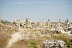Pobiti Kamani le désert en pierre, un phénomène comme un désert de roche situé dans la Bulgarie photo stock