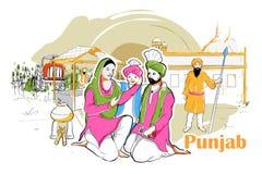 Población y cultura de Punjab, la India ilustración del vector