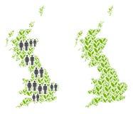 Población y Flora Great Britain Map stock de ilustración