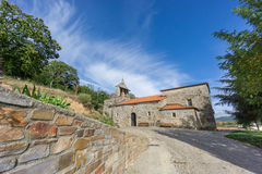 Pobladura de aliste romanic church wide angle view over blue sky Stock Images