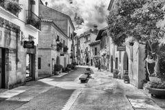 Poble Espanyol建筑学在Montjuic小山,巴塞罗那, Cata的 库存图片