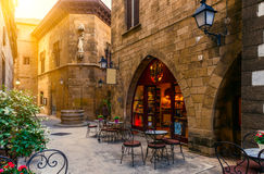 Poble Espanyol i Barcelona, Spanien Royaltyfria Foton