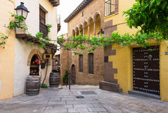 Poble Espanyol traditional architectures in Barcelona. Spain Royalty Free Stock Image