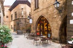 Poble Espanyol - traditionelle Architektur in Barcelona stockfoto