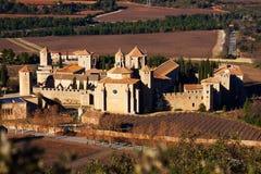 Poblet修道院在冬天 卡塔龙尼亚,西班牙 免版税库存照片