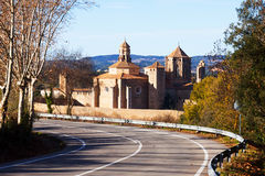 Poblet Monastery from road. Catalonia Stock Image