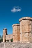 Poblet Monastery, Tarragona Province, Spain. Fortified Wall in Front of Poblet Monastery, Tarragona Province, Catalonia, Spain Royalty Free Stock Photo