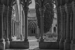 Cloister of the twelfth century Cistercian monastery of Santa Maria de Poblet, Catalonia. black white