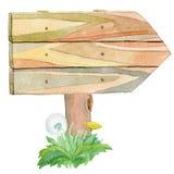 Pobocze drewniany znak ilustracja wektor