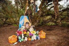 Pobocze pomnik przy BR 040 drogą, Sete Lagoas region dla jeden dramatyczny wypadek samochodowy w Brazylia, 2011 Obrazy Stock