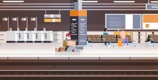 Pobre hombre con sentarse en el ferrocarril del piso que pide concepto de los desamparados del tablero de la muestra de la tenenc stock de ilustración