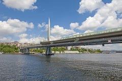 Pobytu metra most nad rzeką Zdjęcie Royalty Free