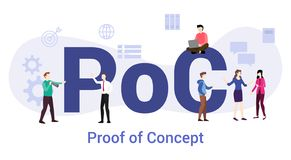 Free Poc Proof Of Concept With Big Word Or Text And Team People With Modern Flat Style - Vector Stock Photo - 159671850