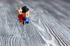 pocałunek miłości człowieka koncepcja kobieta Romantyczna para na koniu clothespin Obrazy Stock