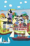 Poca aldea en el mar libre illustration