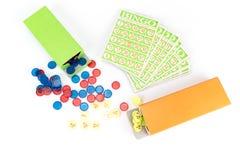 Poca attrezzatura del gioco di bingo Immagine Stock