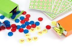 Poca attrezzatura del gioco di bingo Fotografia Stock
