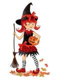 Poca bruja linda de Halloween de la historieta Imágenes de archivo libres de regalías