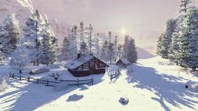 Poca cabina in montagne nevose all'alba Fotografie Stock
