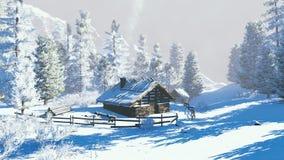 Poca capanna in montagne nevose al giorno di inverno Immagine Stock