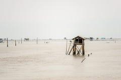 Poca capanna nel mare al colpo Taboon, Phetchaburi, Tailandia immagine stock