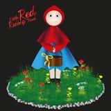 Poca carta dei bambini del cappuccio di guida rosso illustrazione di stock