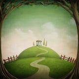 Poca casa en la colina libre illustration