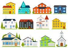 Poca casa o apartamentos lindos Casa urbana del americano de la familia Vecindad con los hogares acogedores Cabaña moderna tradic libre illustration