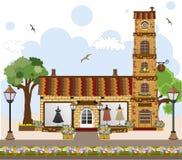 Poca casa y tienda retra linda, tienda o boutiqu Imagen de archivo libre de regalías