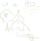 Poca chiesa del paese in pastelli Immagini Stock Libere da Diritti