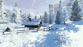 Poca choza en montañas en el día de invierno soleado Fotos de archivo