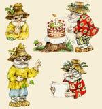 Poca colección divertida de los caracteres del viejo hombre del bosque stock de ilustración