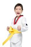 Poca correa del amarillo del arte marcial del muchacho del Taekwondo Fotografía de archivo