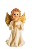 Poca figura de un ángel de la Navidad aislada en el fondo blanco fotos de archivo