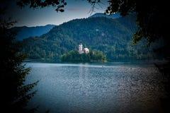 Poca isla con la iglesia católica en el lago sangrado Fotos de archivo libres de regalías
