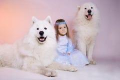 Poca muchacha con los perros, símbolo de la princesa del invierno del Año Nuevo Imagenes de archivo