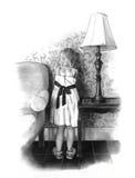 Poca muchacha de flor: Gráfico de lápiz Foto de archivo