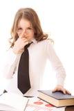 Poca muchacha del negocio ajusta sus vidrios Imagen de archivo libre de regalías