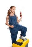 Poca muchacha principal con el taladro Imagen de archivo libre de regalías