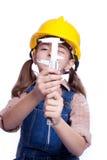 Poca muchacha principal con el trasmallo Imagenes de archivo