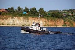 Poca nave del fiume Fotografia Stock