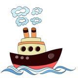 Poca nave a vapore del fumetto su bianco Vettore illustrazione vettoriale