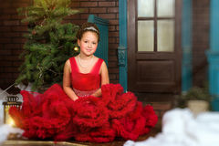 Poca principessa dell'inverno accoglie favorevolmente il nuovo anno ed il Natale Fotografia Stock Libera da Diritti