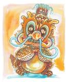 Poca progettazione del charcter del fumetto del drago Fotografie Stock