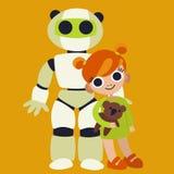 Poca ragazza dello zenzero con il robot educativo domestico Immagini Stock