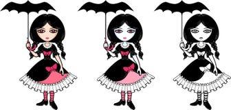 Poca ragazza di emo del goth con l'ombrello Fotografia Stock Libera da Diritti