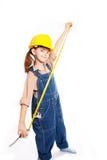 Poca ragazza matrice con il righello Fotografie Stock Libere da Diritti