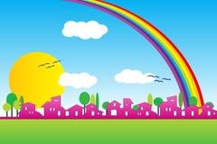 Poca siluetta del villaggio con il Rainbow Fotografia Stock
